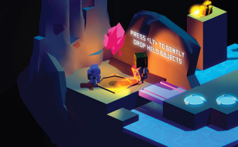 """Screenshot of Pitfall Planet: two robots with text """"Press to gently drop held objects"""""""
