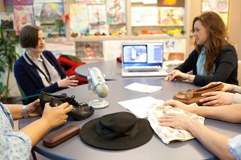 Elysse Leonard (left) and filmmaker Nicole Dorsey lead a Reel Comfort workshop at St. Michael's Hospital. Photo: Yuri Markarov, St. Michael's Hospital