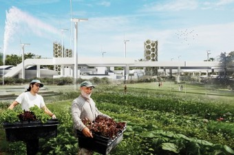 Reclaimed seawater irrigates urban farms in Juan Caviedes and Negin Akhlaghpour's award-winning design. Illustration: Juan Caviedes and Negin Akhlaghpour