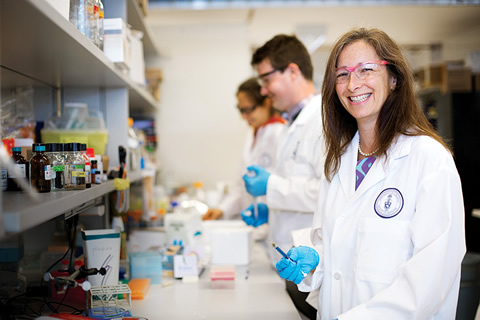 Photo of Molly Shoichet in the lab.