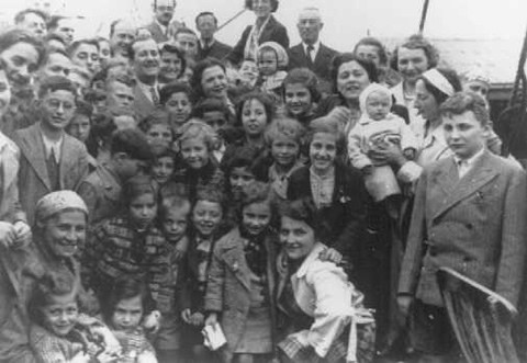 "Passengers aboard the ""St. Louis."" These refugees from Nazi Germany were forced to return to Europe after both Cuba and the U.S. denied them refuge. May or June 1939. Photo from United States Holocaust Memorial Museum, Washington, DC."