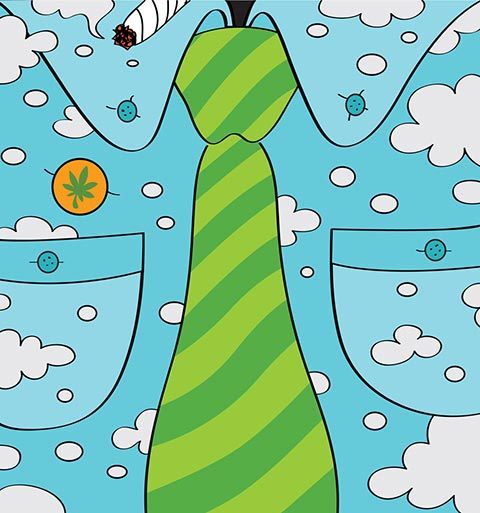 Illustration of a blue shirt with white clouds, a green striped tie, and a joint being smoked