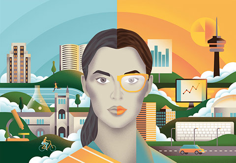 Illustration of woman's face surrounded by Toronto city scape and symbols of career opportunities