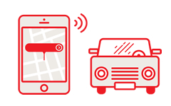 Illustration of a smartphone app (left side) and a car (right side)