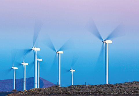 Photo of open field with an array of seven wind turbines