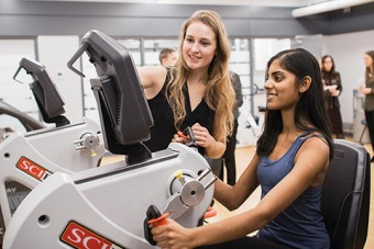 U of T students Alex Boross-Harmer (left) and Megan D'Souza at the new Mental Health and Physical Activity Research Centre