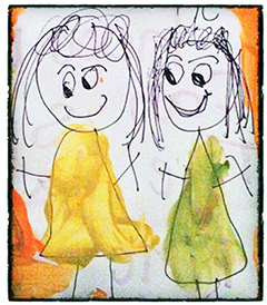 Drawing of two girls, one in a yellow dress and the other in a green dress