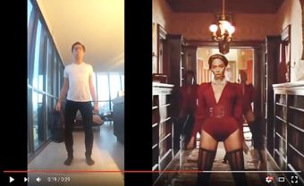 Photo of YouTube video with split screen of Yani Macute on the left and Beyoncé on the right