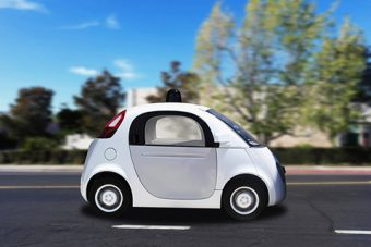 Photo of a self-driving smart car.