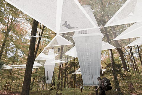"""Suspend"" also lets campers sleep high among the trees. Image by Lateral Office."