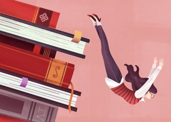 Illustration of a feminine figure diving off a stack of books.