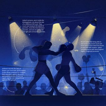 Illustration of boxing match.