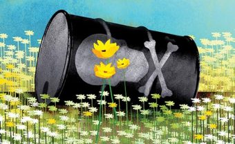Illustration of a metal can with a poison symbol sitting on its side on top of a field of flowers