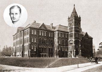 Black-and-white photo of U of T Engineering's first building with illustration of Erwin Hart