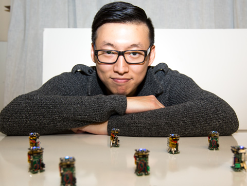 Engineering PhD student Justin Kim has built nine robots not much larger than your thumb that exhibit