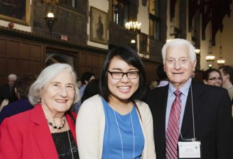 Paigs Zhang (centre) with donors Roslyn and Murray Herst.