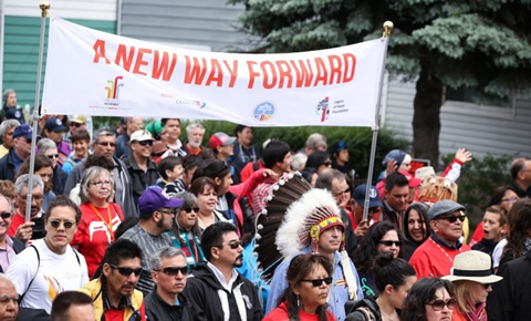 Photo of crowd during Walk for Reconciliation.