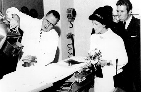 Dr. Johns demonstrates the operation of a cobalt-60 therapy unit to Princess Margaret and Lord Smowdon uring the opening of the new wing of the Princess Margaret Hospital in Toronto, in 1967. Photo: David Milne.
