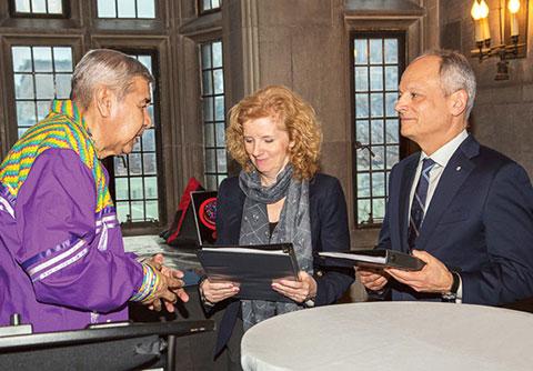 From left: Elder Andrew Wesley, Provost Cheryl Regehr, President Meric Gertler