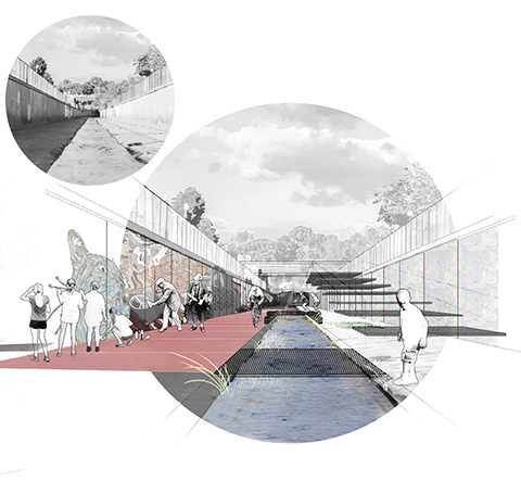 Artistic rendering of a section of the Black Creek Channel, with murals along the left wall, a bike lane alongside the ravine, and a stairway on the right