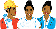 Illustration of three women, the leftmost one wearing a hardhat and rolled up papers