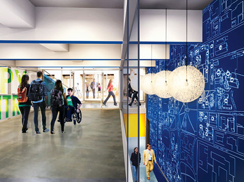 Artist rendering of interior corridor of new Student Commons, with a copy centre depicted on the left