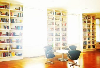 Photo of the Munk School of Global Affairs library reading room by Sarah Khan (2016).