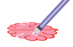 Illustration of a pencil eraser erasing lines from a drawing of a brain.