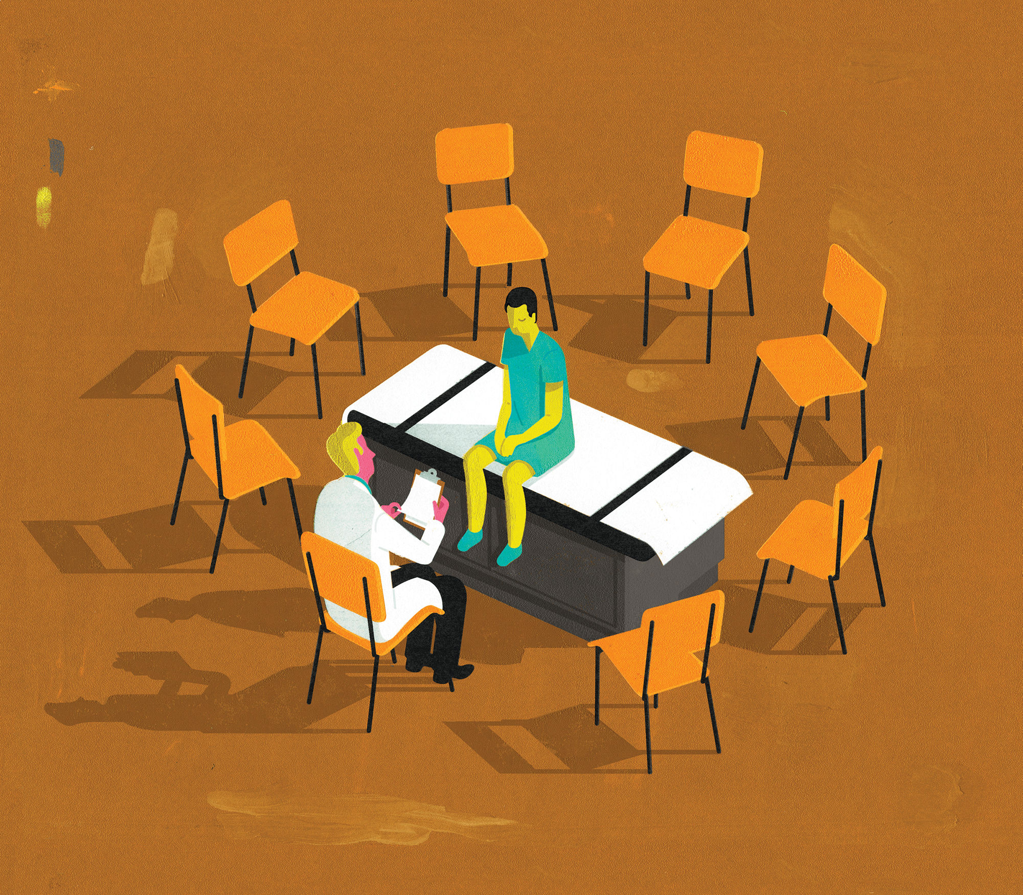 Illustration of a circle of chairs, one occupied by a doctor, and the rest empty. A patient sits on a bench in the centre, facing the doctor.
