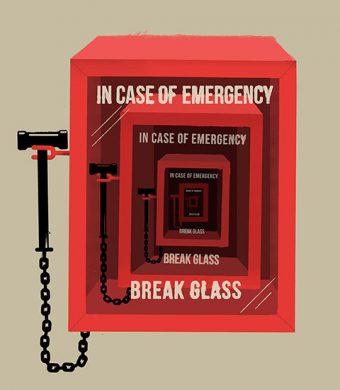 """Illustration of an """"In case of emergency, break glass"""" box"""