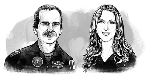 Illustrations of astronaut Chris Hadfield and singer Celine Dion.