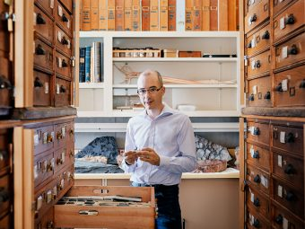 Prof. J.B. Caron of ecology and evolutionary biology in his lab at the Royal Ontario Museum