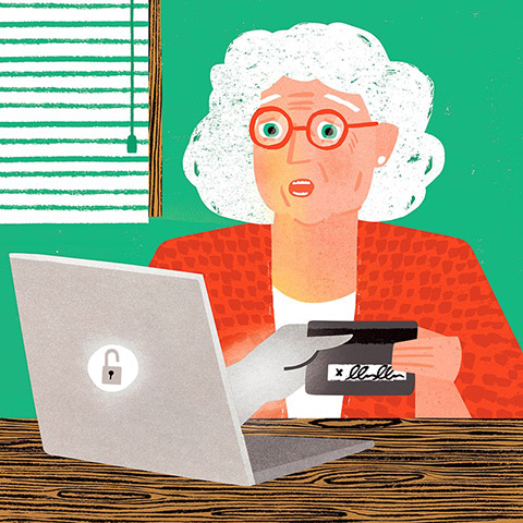 An elderly woman holding onto a credit card, while a hand reaches out of a laptop and holds the other end.