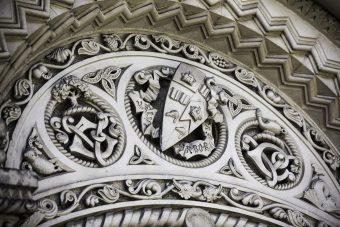 "Carved Coat of Arms - University College - ""Velut Arbor Aevo"""