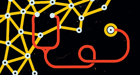 Illustration of intersecting yellow lines, as well as red lines in the shape of a stethoscope.