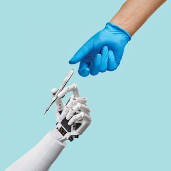 A surgeon's hand reaching for a scalpel, being offered by a robotic hand