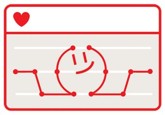 Illustration of a chart with a line graph in the shape of a smiling face and arms, and with a heart in the upper left corner.