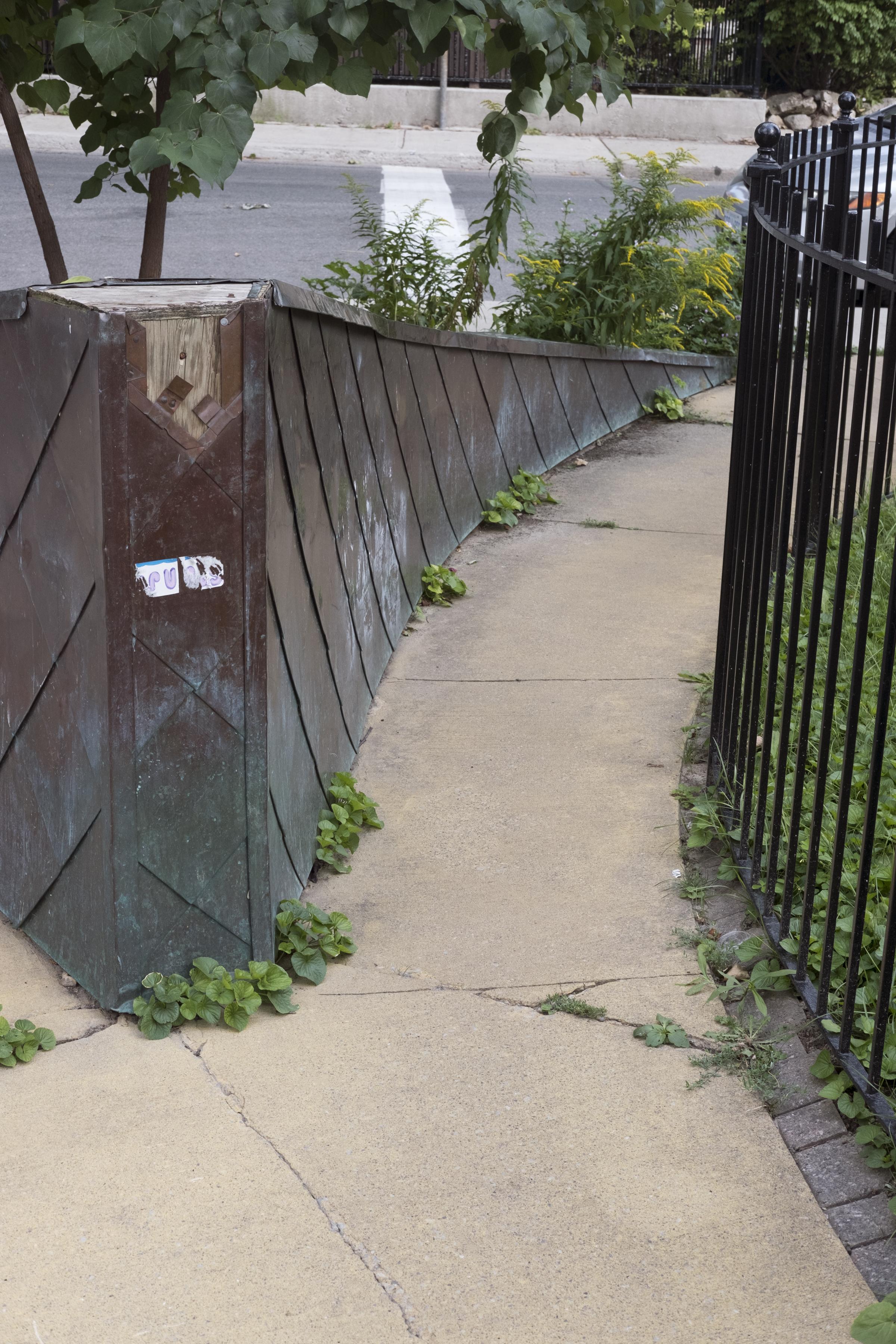 A narrow sidewalk pathway