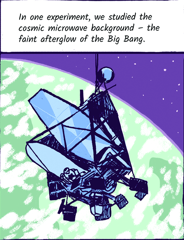 In one experiment, we studied the cosmic microwave background - the faint afterglow of the Big Bang.