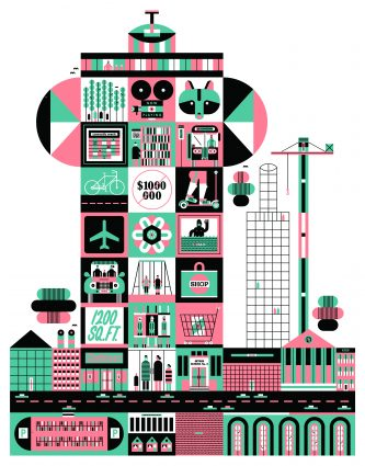 Illustration shows a cutaway of an apartment building with many different city-related things in each unit
