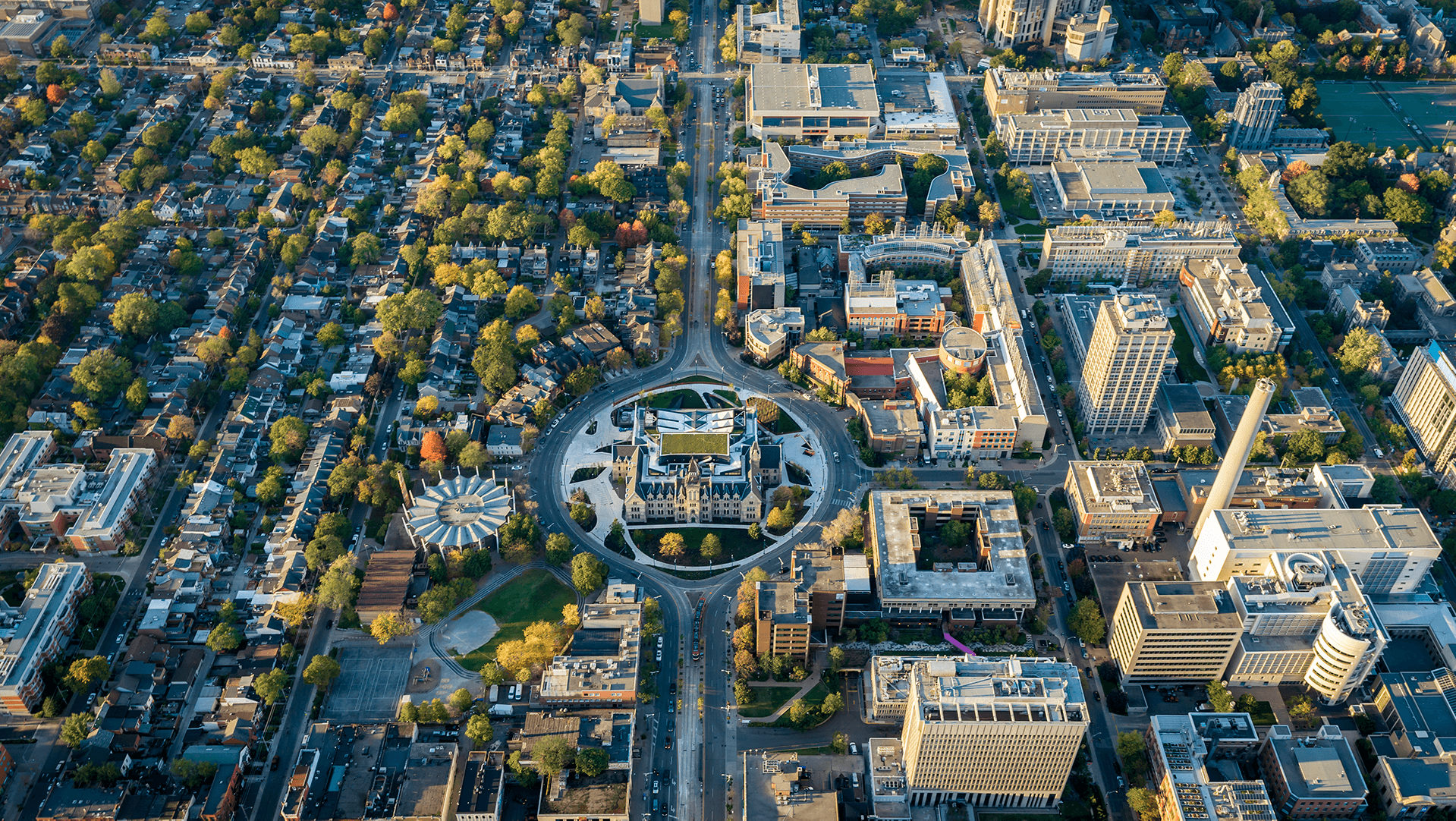 Aerial photo of Toronto with Daniels Building as the focal point.