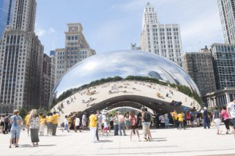 """The Bean"" sculpture by artist Anish Kapoor in Chicago's Millennium Park"