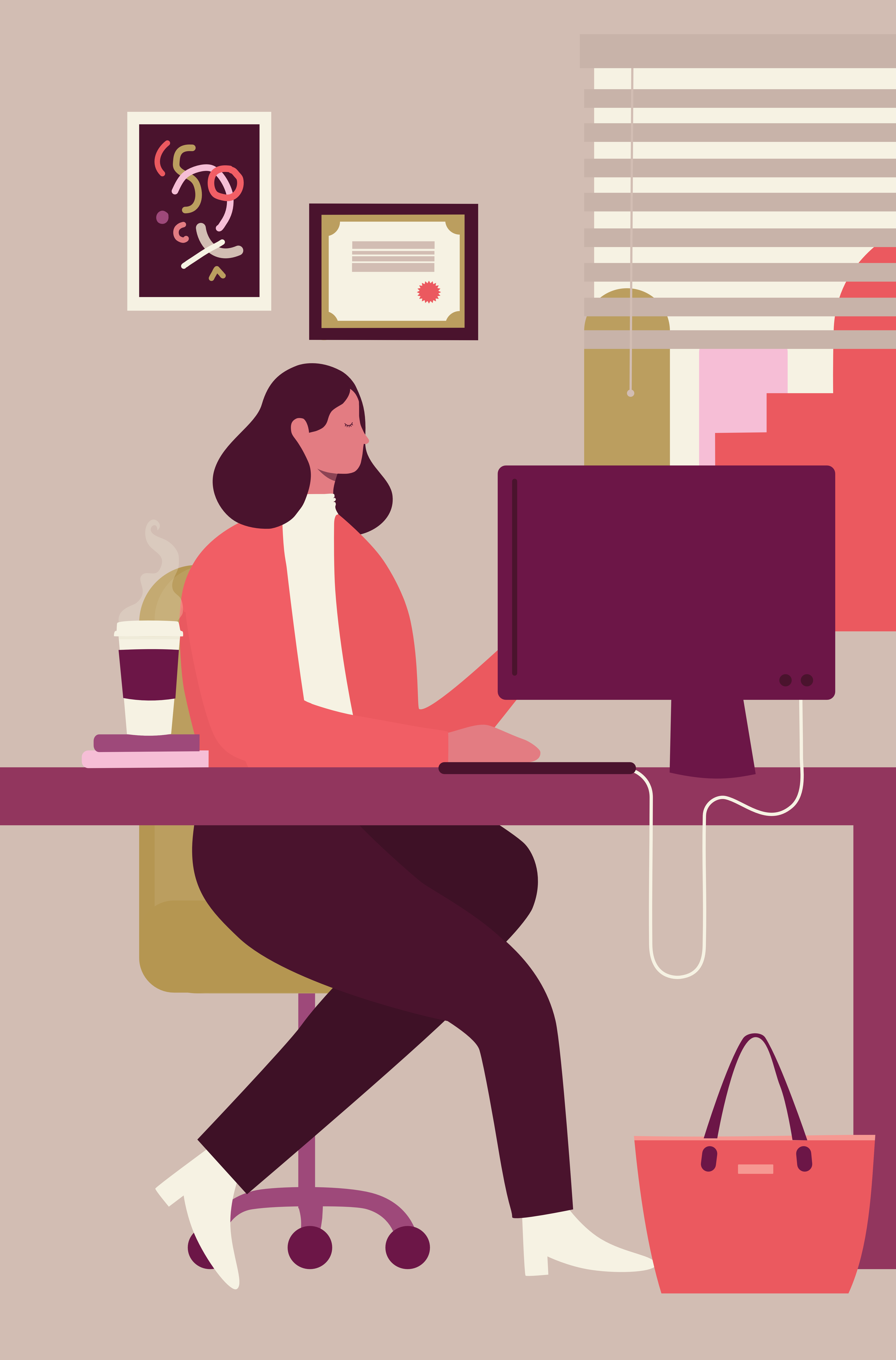 Illustration of a woman sitting at her desk in her corporate office