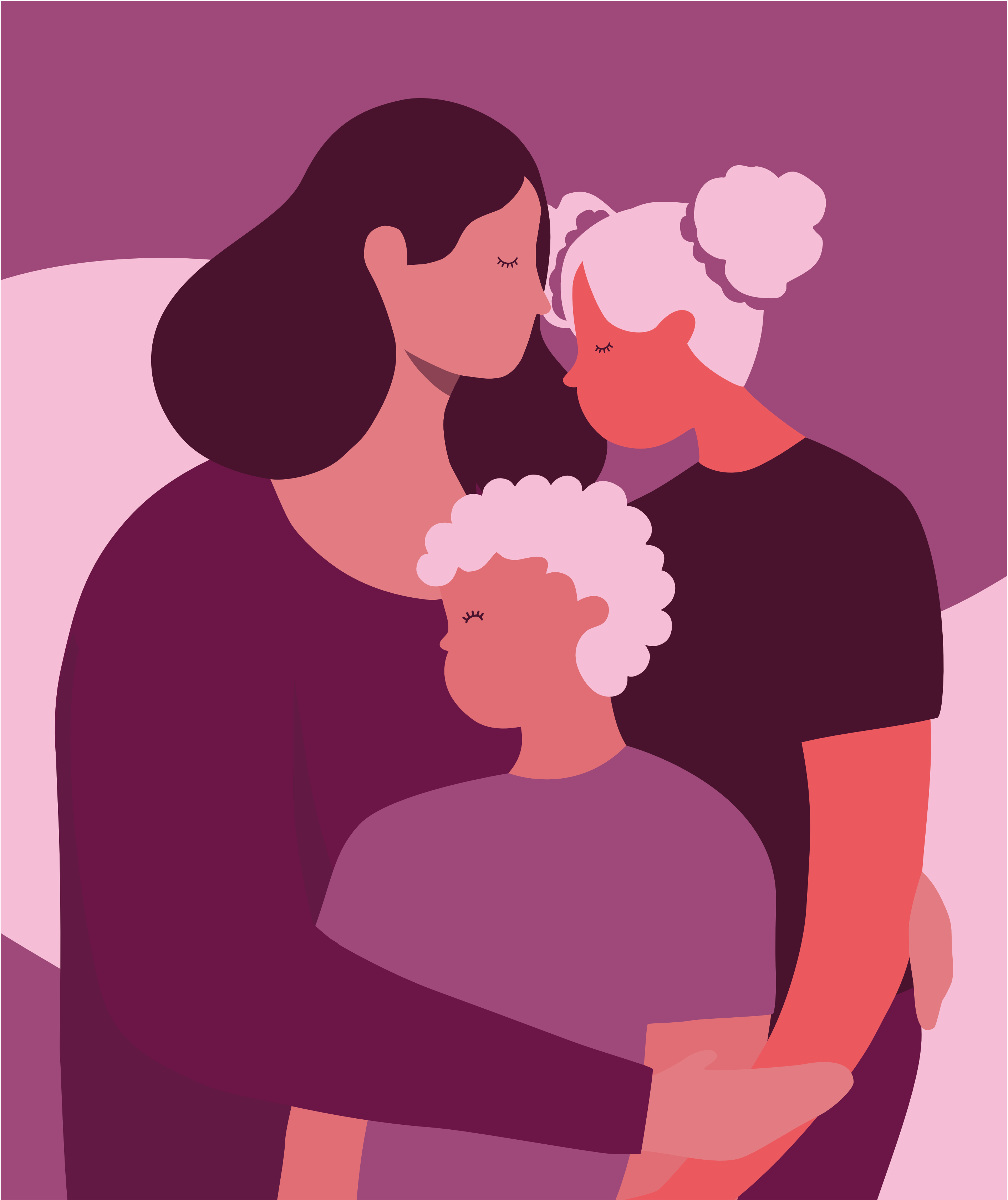 Illustration of a woman hugging her two children