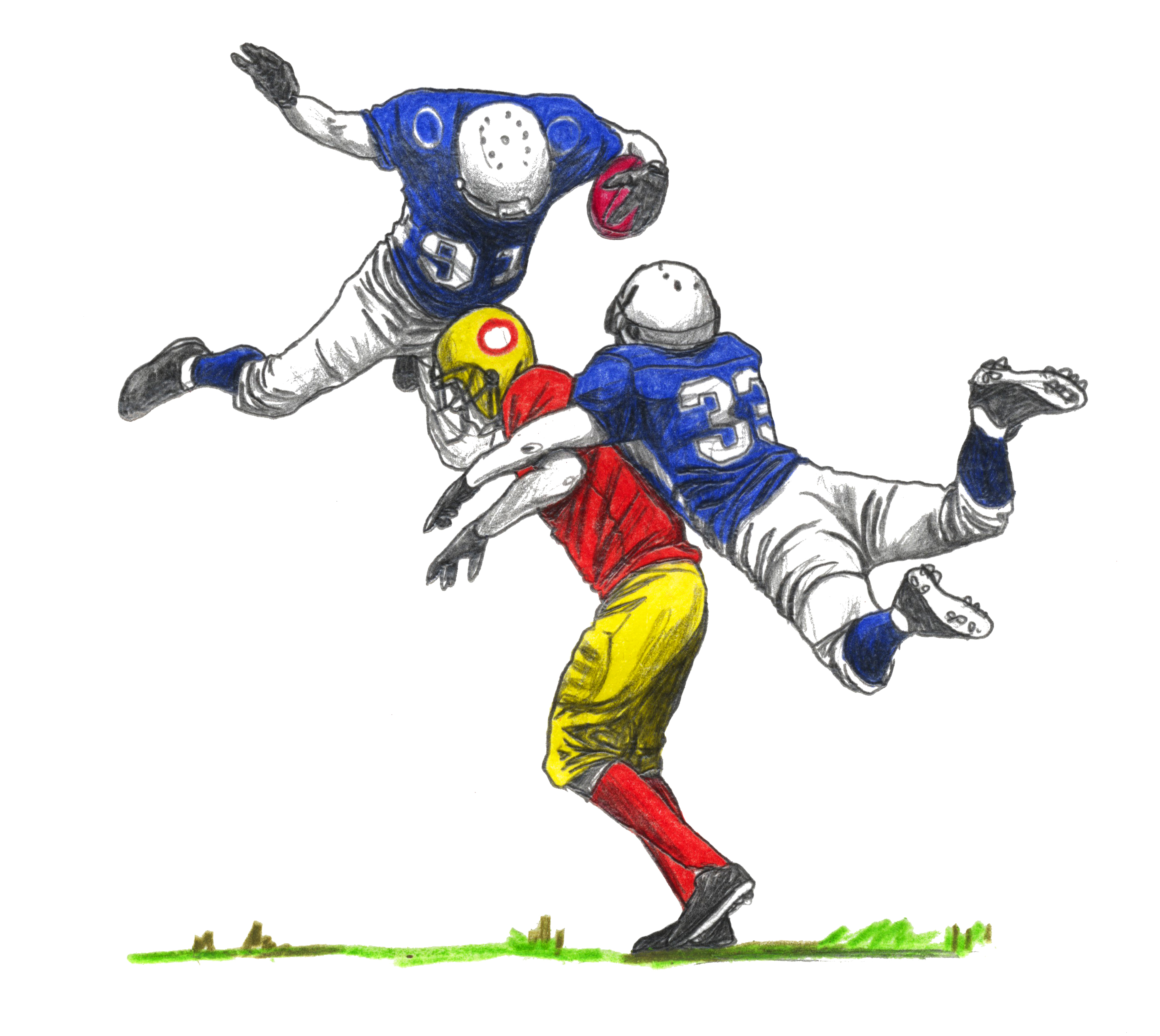 Two football players leaping to tackle a third