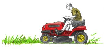 Illustration of an elderly man riding a lawnmower
