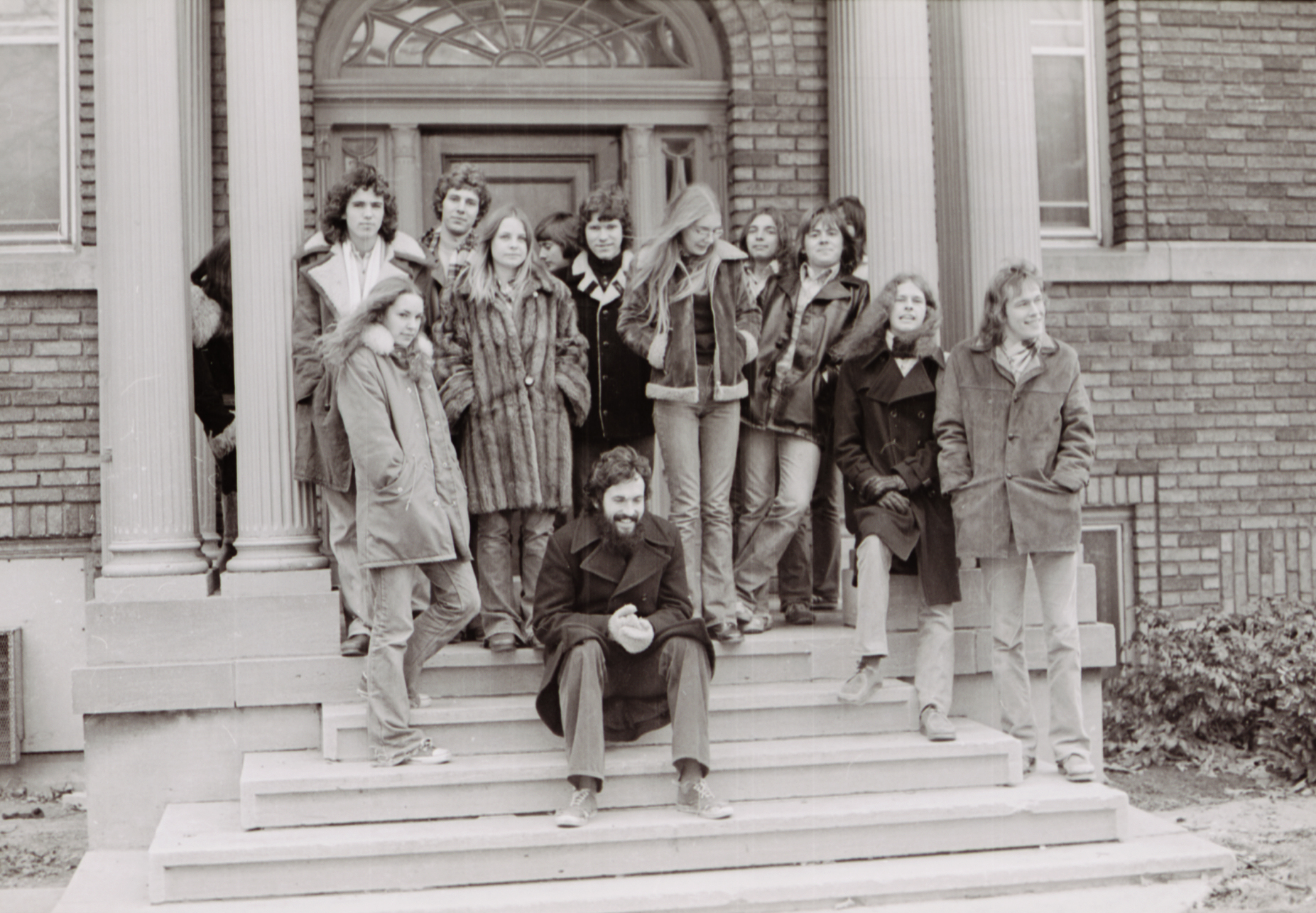 A 1970s era photograph of students standing out front of The Cool School