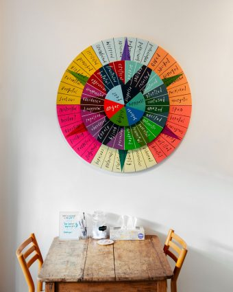 "A colourful, three-tiered ""Wheel of Emotion"" on the wall – where anger, sadness and fear sit at the centre."
