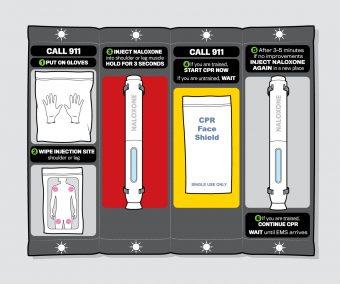 A illustration of the redesigned naloxone kit