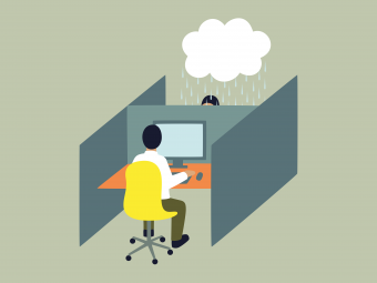 Illustration of a person in a cubicle. The neighbouring cubicle shows another person with a cloud above their head, signifying mental illness.